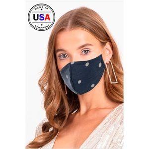 Accessories - 🎉JUST IN! Navy Polka Dot Face Mask